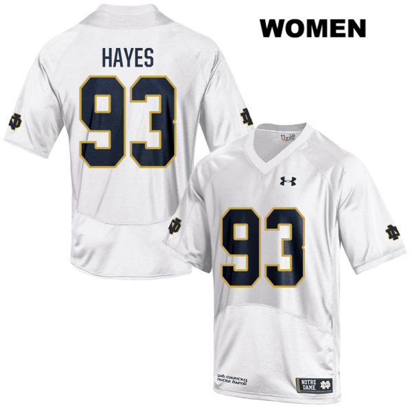 Jay Hayes Notre Dame Fighting Irish no. 93 Stitched Womens Under Armour White Authentic College Football Jersey - With Name - Jay Hayes Jersey