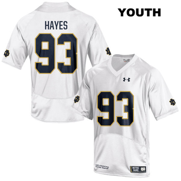 Stitched Jay Hayes Under Armour Notre Dame Fighting Irish no. 93 Youth White Authentic College Football Jersey - With Name - Jay Hayes Jersey