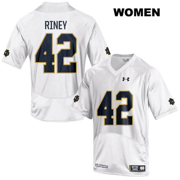 Jeff Riney Notre Dame Fighting Irish Stitched no. 42 Womens Under Armour White Authentic College Football Jersey - With Name