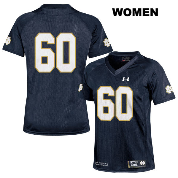 John Montelus Stitched Notre Dame Fighting Irish no. 60 Womens Under Armour Navy Authentic College Football Jersey - John Montelus Jersey
