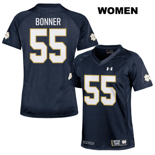 Jonathan Bonner Notre Dame Fighting Irish no. 55 Under Armour Womens Navy Stitched Authentic College Football Jersey - With Name - Jonathan Bonner Jersey