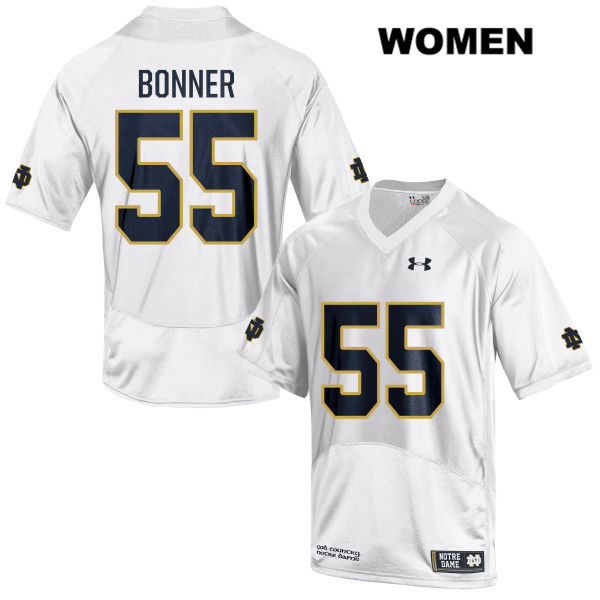 Jonathan Bonner Under Armour Notre Dame Fighting Irish no. 55 Womens White Stitched Authentic College Football Jersey - With Name - Jonathan Bonner Jersey