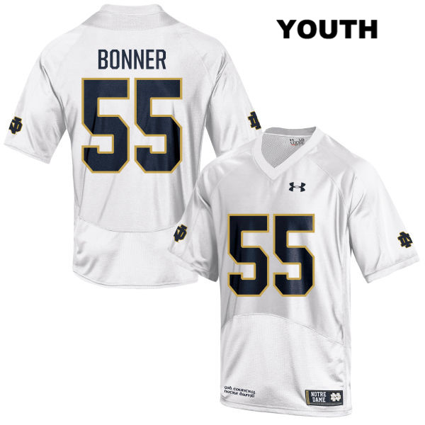 Jonathan Bonner Notre Dame Fighting Irish no. 55 Under Armour Youth White Stitched Authentic College Football Jersey - With Name - Jonathan Bonner Jersey