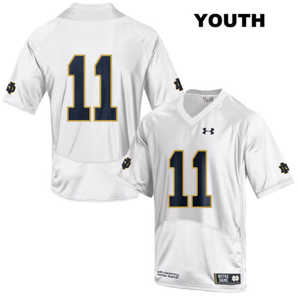 Justin Brent Stitched Notre Dame Fighting Irish no. 11 Under Armour Youth White Authentic College Football Jersey - Justin Brent Jersey