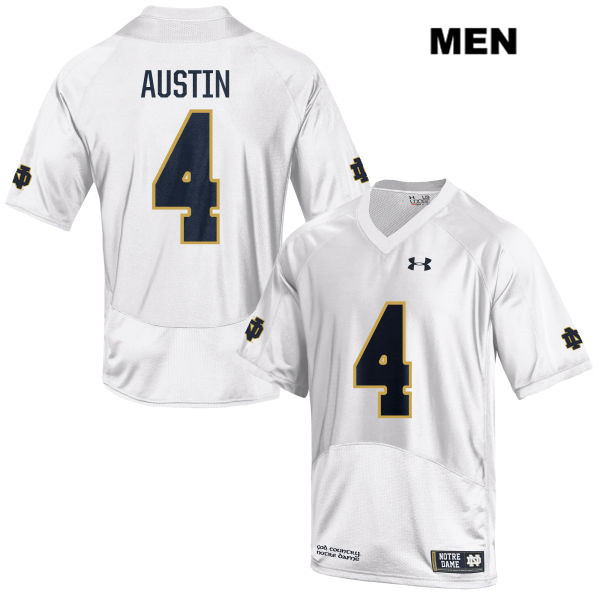 Kevin Austin Jr. Stitched Notre Dame Fighting Irish no. 4 Under Armour Mens White Authentic College Football Jersey - Kevin Austin Jr. Jersey