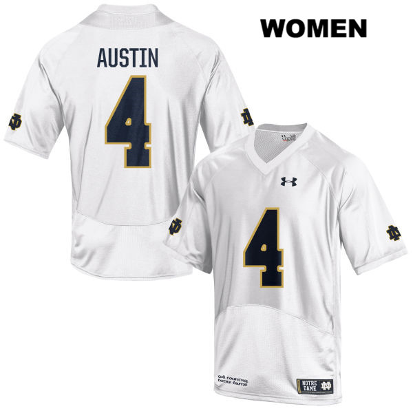 Kevin Austin Jr. Notre Dame Fighting Irish Stitched no. 4 Under Armour Womens White Authentic College Football Jersey - Kevin Austin Jr. Jersey