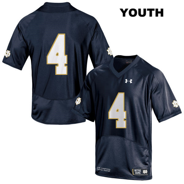 Kevin Austin Jr. Notre Dame Fighting Irish no. 4 Youth Under Armour Stitched Navy Authentic College Football Jersey - No Name - Kevin Austin Jr. Jersey