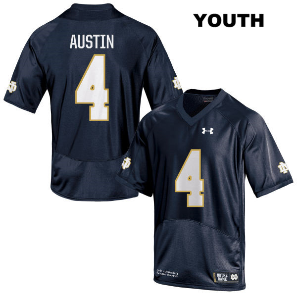 Under Armour Kevin Austin Jr. Notre Dame Fighting Irish Stitched no. 4 Youth Navy Authentic College Football Jersey - Kevin Austin Jr. Jersey