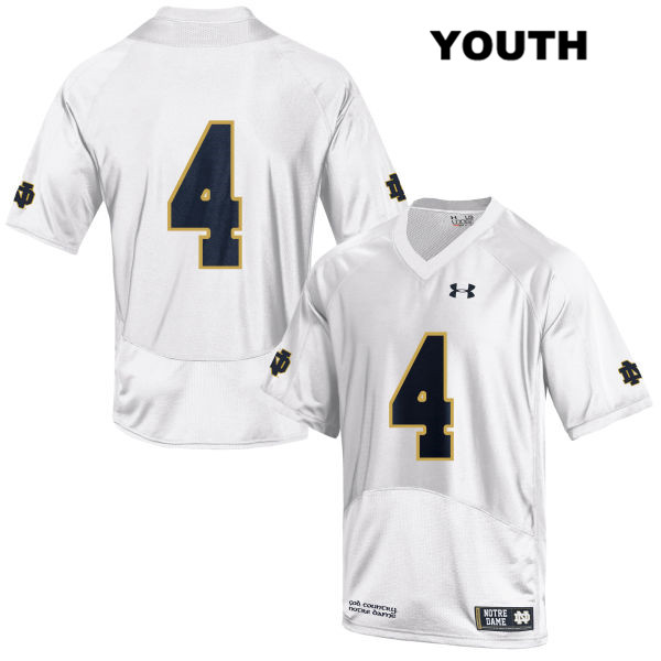 Kevin Austin Jr. Stitched Notre Dame Fighting Irish no. 4 Youth Under Armour White Authentic College Football Jersey - No Name - Kevin Austin Jr. Jersey