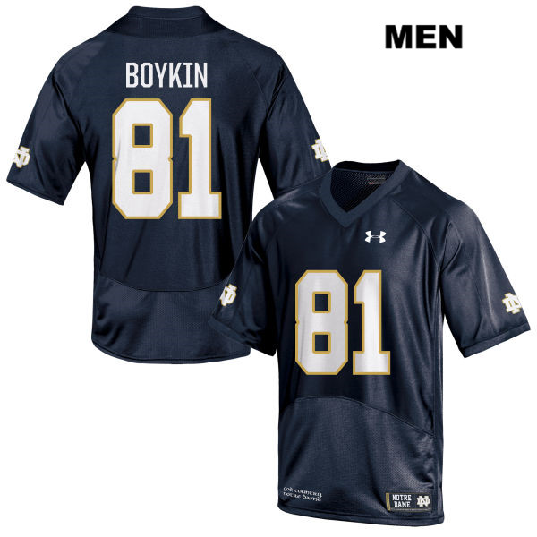 Miles Boykin Stitched Notre Dame Fighting Irish no. 81 Under Armour Mens Navy Authentic College Football Jersey - With Name - Miles Boykin Jersey