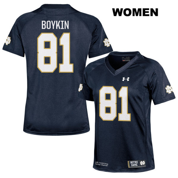 Miles Boykin Notre Dame Fighting Irish no. 81 Stitched Womens Under Armour Navy Authentic College Football Jersey - With Name - Miles Boykin Jersey