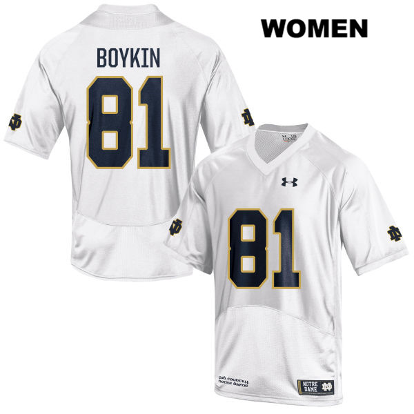 Miles Boykin Under Armour Notre Dame Fighting Irish Stitched no. 81 Womens White Authentic College Football Jersey - With Name - Miles Boykin Jersey