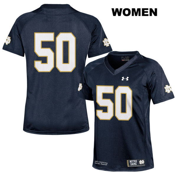 Under Armour Parker Boudreaux Notre Dame Fighting Irish no. 50 Womens Navy Stitched Authentic College Football Jersey