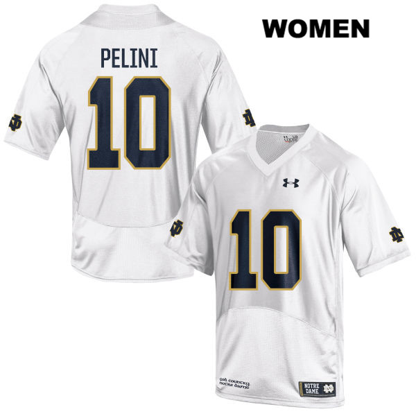 Patrick Pelini Stitched Notre Dame Fighting Irish Under Armour no. 10 Womens White Authentic College Football Jersey - With Name - Patrick Pelini Jersey
