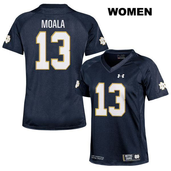 Paul Moala Notre Dame Fighting Irish Under Armour no. 13 Stitched Womens Navy Authentic College Football Jersey - Paul Moala Jersey