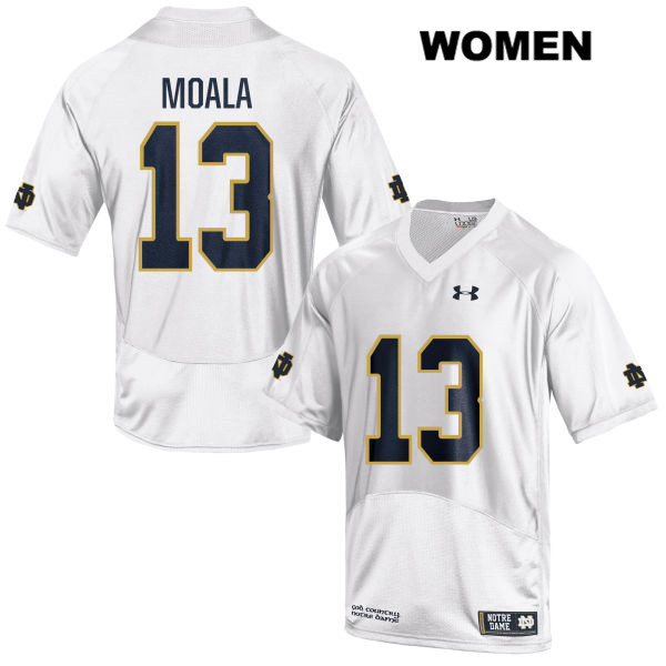 Paul Moala Notre Dame Fighting Irish Under Armour no. 13 Womens White Stitched Authentic College Football Jersey - Paul Moala Jersey