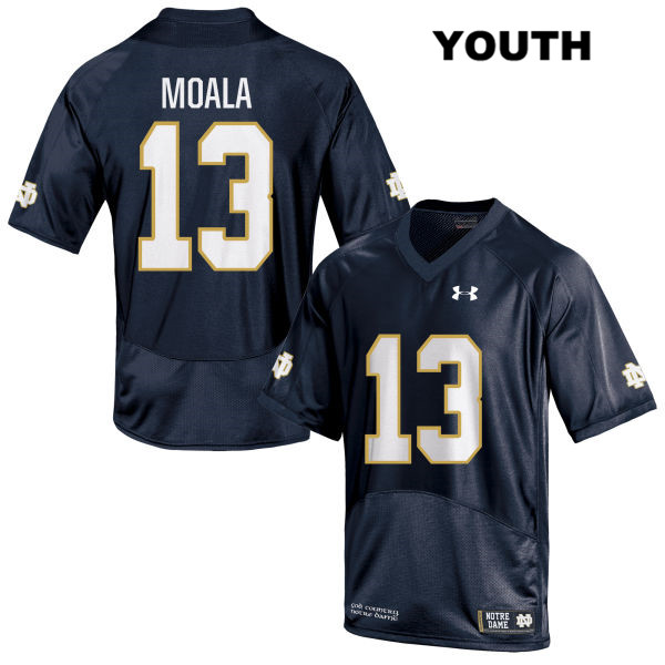 Paul Moala Notre Dame Fighting Irish no. 13 Youth Stitched Navy Under Armour Authentic College Football Jersey - Paul Moala Jersey