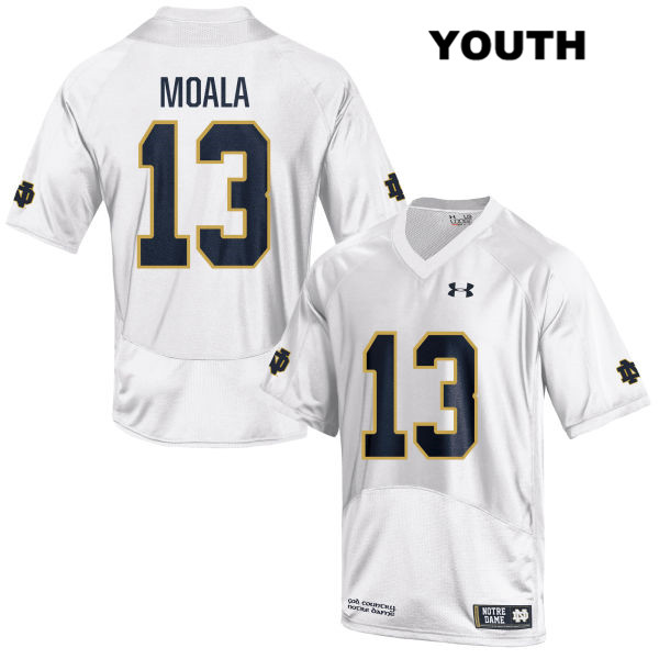 Paul Moala Stitched Notre Dame Fighting Irish no. 13 Under Armour Youth White Authentic College Football Jersey - Paul Moala Jersey