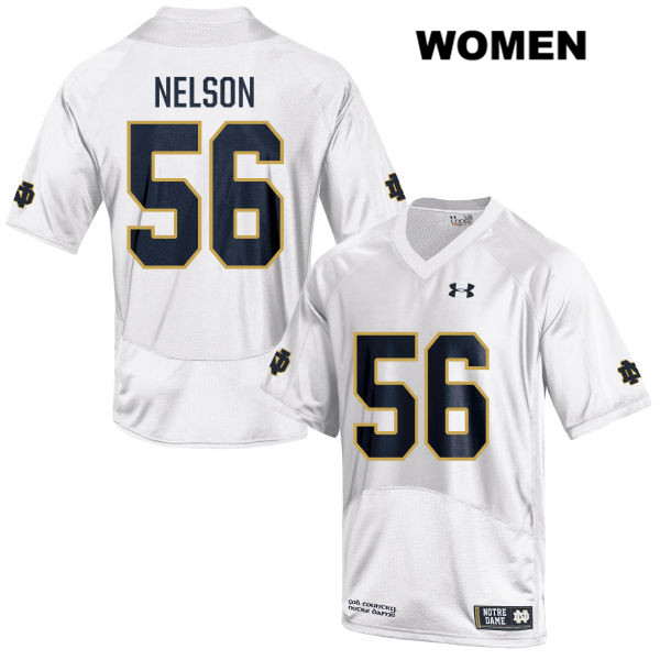 Quenton Nelson Stitched Notre Dame Fighting Irish no. 56 Under Armour Womens White Authentic College Football Jersey - With Name - Quenton Nelson Jersey