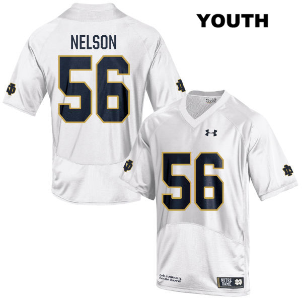 Under Armour Quenton Nelson Stitched Notre Dame Fighting Irish no. 56 Youth White Authentic College Football Jersey - With Name - Quenton Nelson Jersey