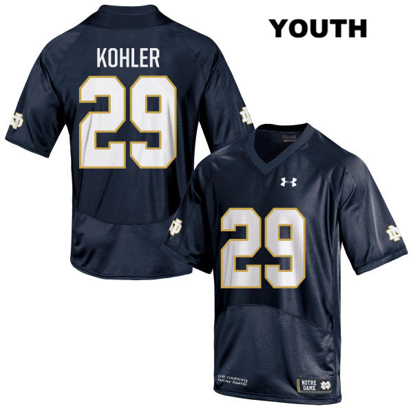 Sam Kohler Under Armour Notre Dame Fighting Irish Stitched no. 29 Youth Navy Authentic College Football Jersey - With Name - Sam Kohler Jersey