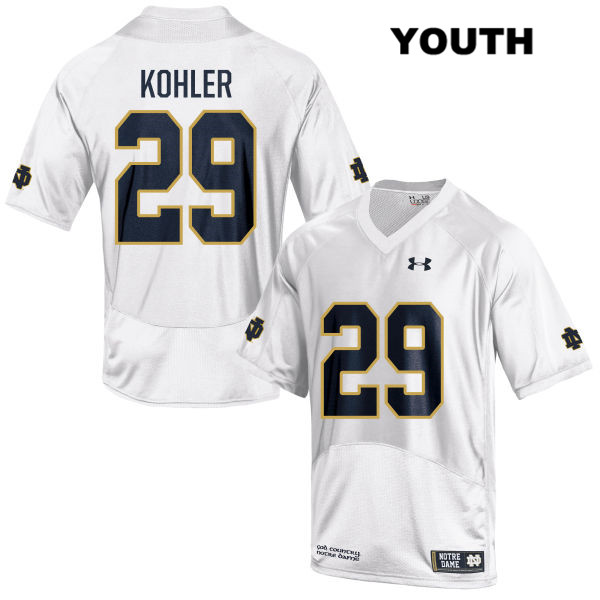 Under Armour Sam Kohler Notre Dame Fighting Irish no. 29 Stitched Youth White Authentic College Football Jersey - With Name - Sam Kohler Jersey