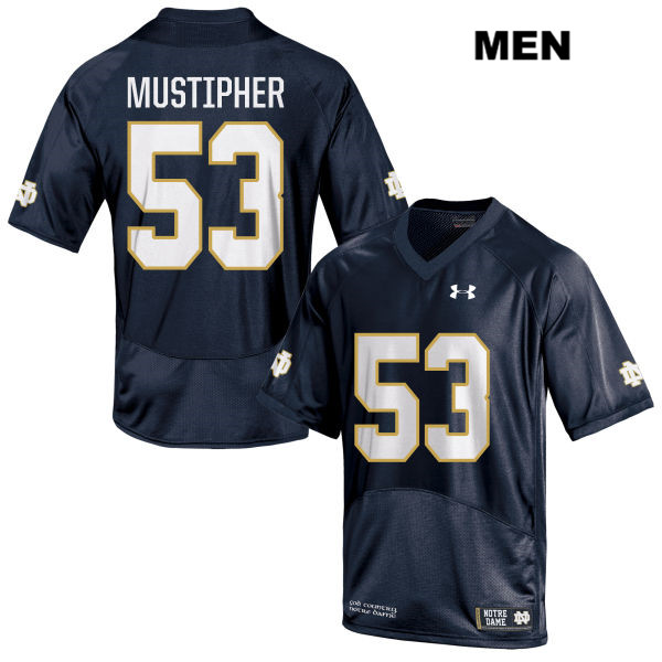 Sam Mustipher Notre Dame Fighting Irish no. 53 Mens Stitched Navy Under Armour Authentic College Football Jersey - With Name - Sam Mustipher Jersey