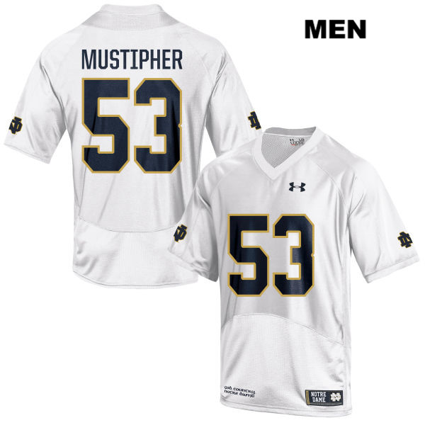 Sam Mustipher Notre Dame Fighting Irish no. 53 Mens Stitched Under Armour White Authentic College Football Jersey - With Name - Sam Mustipher Jersey