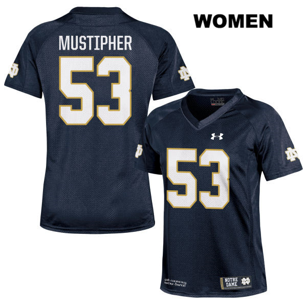 Sam Mustipher Stitched Notre Dame Fighting Irish no. 53 Under Armour Womens Navy Authentic College Football Jersey - With Name - Sam Mustipher Jersey