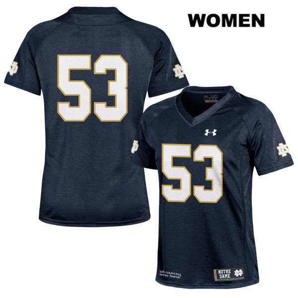 Sam Mustipher Notre Dame Fighting Irish no. 53 Under Armour Womens Stitched Navy Authentic College Football Jersey - Sam Mustipher Jersey