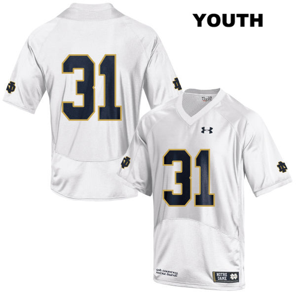 Spencer Perry Stitched Notre Dame Fighting Irish no. 31 Under Armour Youth White Authentic College Football Jersey