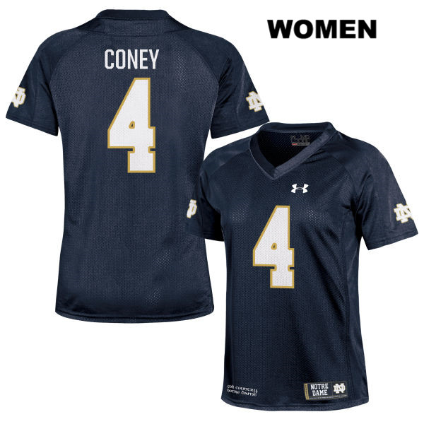 Te'von Coney Notre Dame Fighting Irish no. 4 Stitched Under Armour Womens Navy Authentic College Football Jersey - With Name - Te'von Coney Jersey