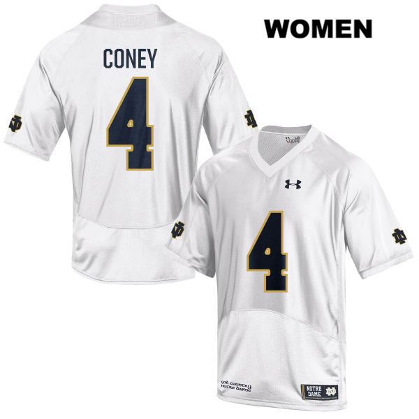 Te'von Coney Stitched Notre Dame Fighting Irish no. 4 Womens Under Armour White Authentic College Football Jersey - With Name - Te'von Coney Jersey