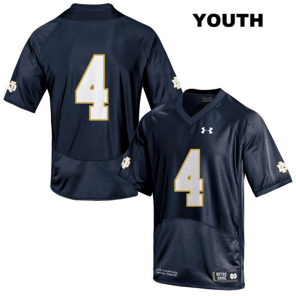 Te'von Coney Notre Dame Fighting Irish Under Armour no. 4 Youth Stitched Navy Authentic College Football Jersey - Te'von Coney Jersey