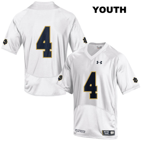 Te'von Coney Notre Dame Fighting Irish Under Armour no. 4 Youth Stitched White Authentic College Football Jersey - Te'von Coney Jersey