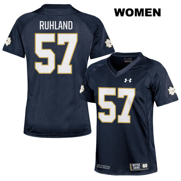 Trevor Ruhland Notre Dame Fighting Irish Under Armour no. 57 Womens Stitched Navy Authentic College Football Jersey - With Name - Trevor Ruhland Jersey