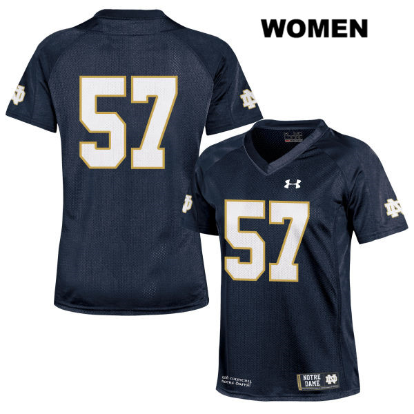 Trevor Ruhland Notre Dame Fighting Irish no. 57 Womens Under Armour Navy Stitched Authentic College Football Jersey - Trevor Ruhland Jersey