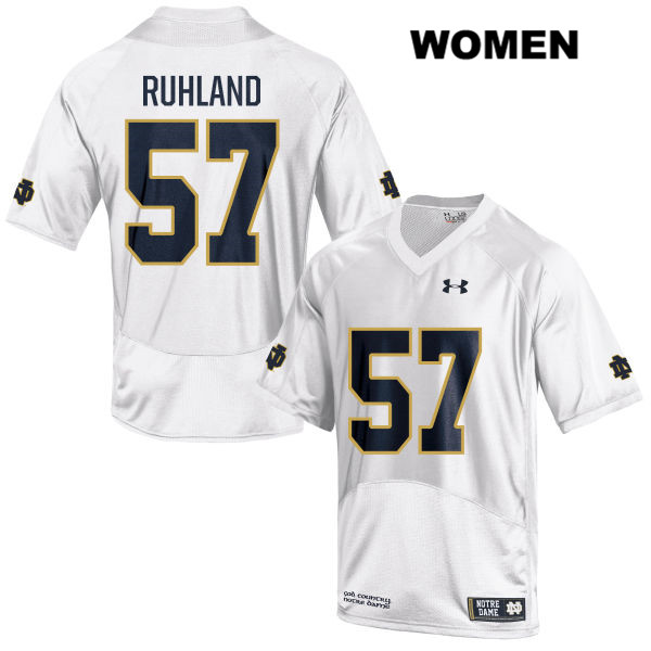 Under Armour Trevor Ruhland Notre Dame Fighting Irish no. 57 Womens Stitched White Authentic College Football Jersey - With Name - Trevor Ruhland Jersey