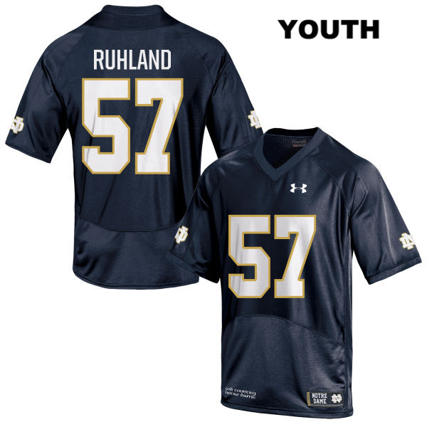 Trevor Ruhland Stitched Notre Dame Fighting Irish no. 57 Youth Navy Under Armour Authentic College Football Jersey - With Name - Trevor Ruhland Jersey