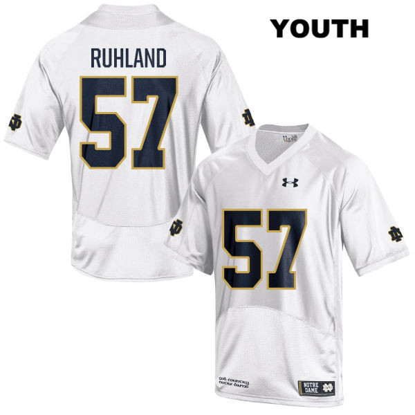 Trevor Ruhland Notre Dame Fighting Irish no. 57 Youth Stitched Under Armour White Authentic College Football Jersey - With Name - Trevor Ruhland Jersey