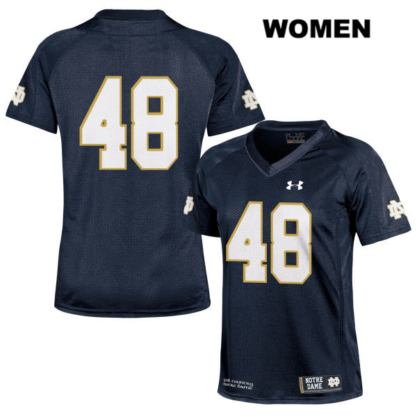 Xavier Lezynski Notre Dame Fighting Irish no. 48 Womens Stitched Navy Under Armour Authentic College Football Jersey - No Name - Xavier Lezynski Jersey