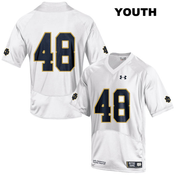 Xavier Lezynski Notre Dame Fighting Irish no. 48 Under Armour Stitched Youth White Authentic College Football Jersey - No Name - Xavier Lezynski Jersey